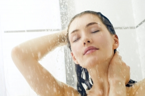 woman standing in shower