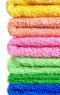 tower of colorful clean bath towels